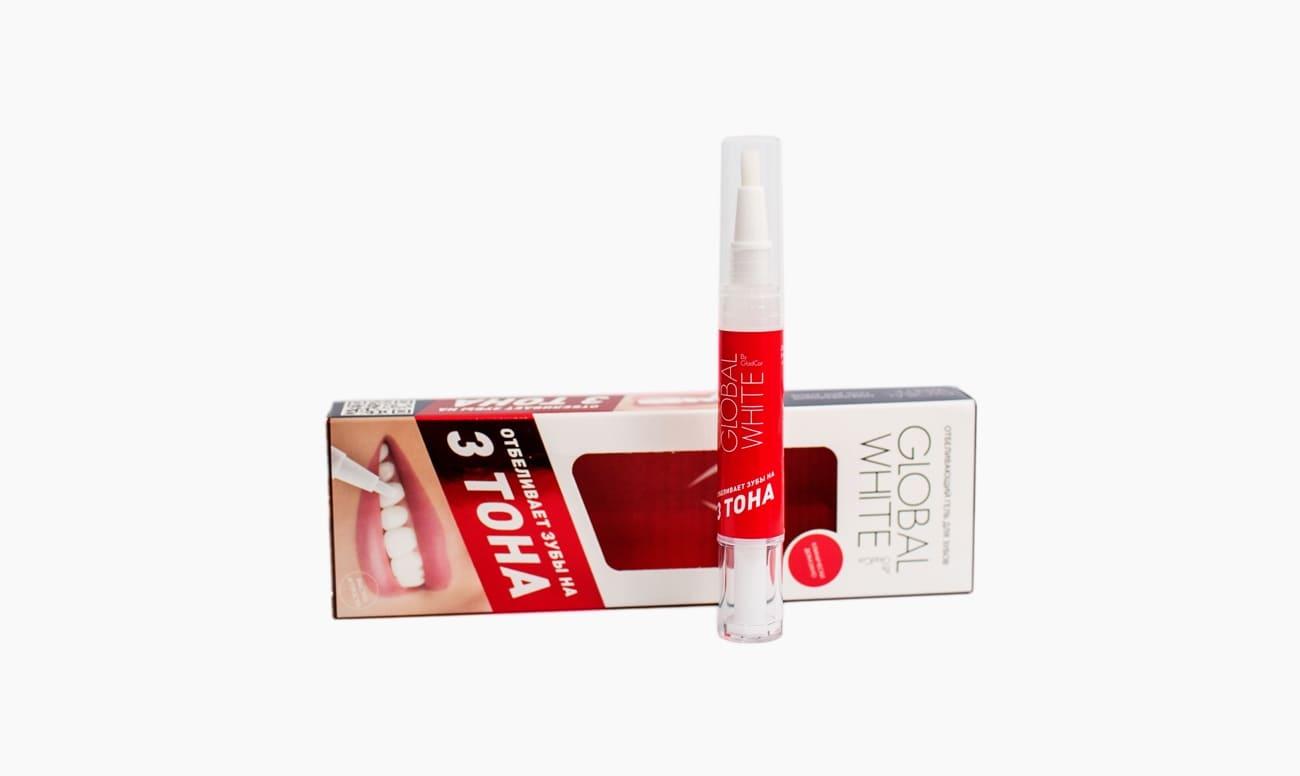 Фото отбеливающего зубы гель-карандаша Global White