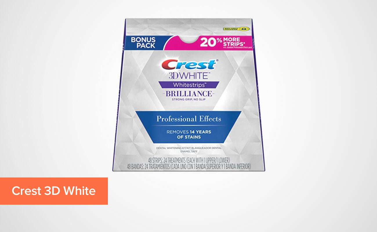 Фото упаковки отбеливающих полосок для зубов Crest 3D White